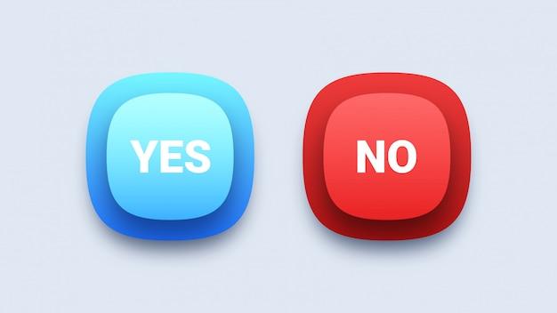 Sim e nenhum ícone de botão