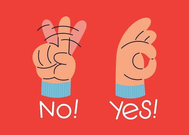 Sim e nenhuma ilustração vetorial plana de gesto de mão