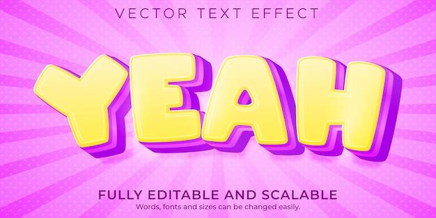 Sim, efeito de texto de desenho animado editável estilo de texto suave e limpo