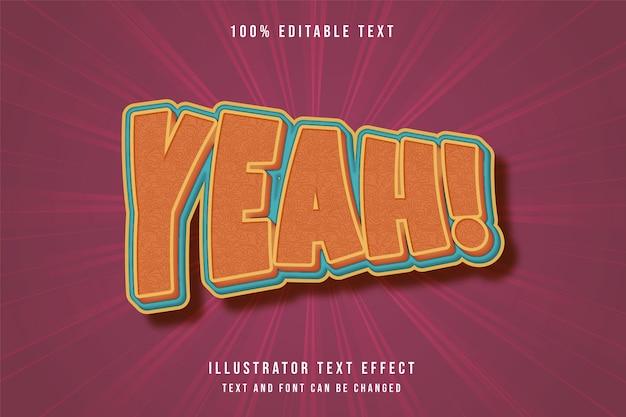 Sim, efeito de texto editável em 3d amarelo laranja azul quadrinhos estilo retro cor