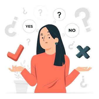 Sim ou não ilustração de conceito