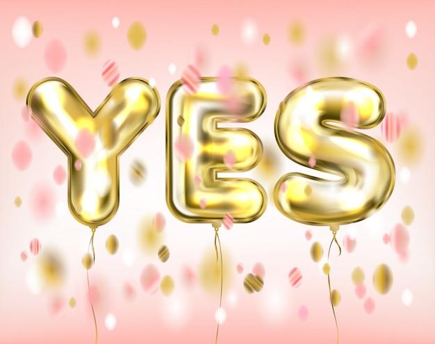 Sim-rotulação rosa por balões dourados