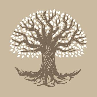 Simbolismo de vida na árvore desenhada à mão