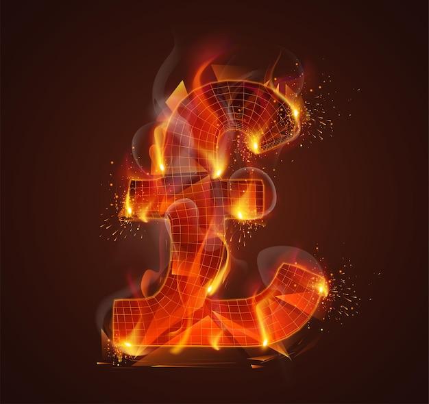 Símbolo 3d em chamas com fumaça e faíscas em um fundo vermelho escuro