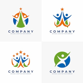 Símbolo abstrato com silhueta humana feliz logotipo médico de esportes fitness ou centro de saúde