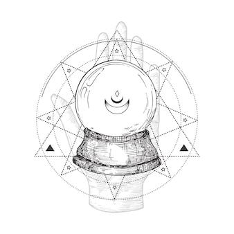 Símbolo abstrato de ocultismo, logotipo em estilo vintage ou tatuagem