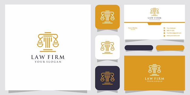 Símbolo, advogado, advogado, advogado, modelo, estilo linear. logotipo da empresa e cartão de visita