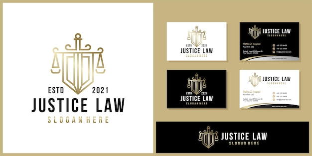 Símbolo advogado advogado advogado modelo estilo linear logotipo da empresa e cartão de visita