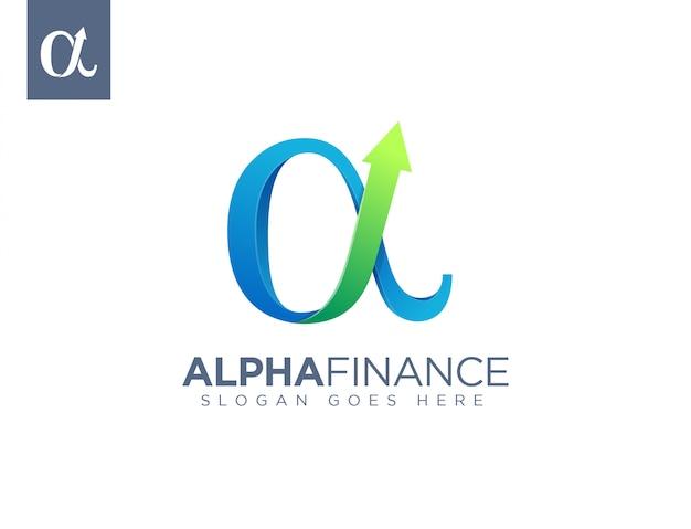 Símbolo alfa do logotipo financeiro de crescimento