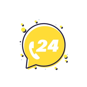 Símbolo amarelo de serviço de suporte 24