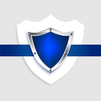 Símbolo azul vazio de escudo de proteção