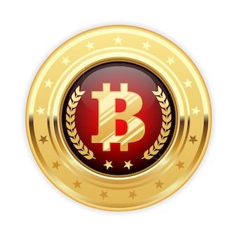 Símbolo bitcoin na medalha de ouro - ícone de criptomoeda
