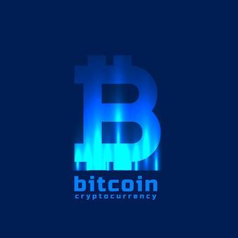 Símbolo bitcoins digital com efeito de luz