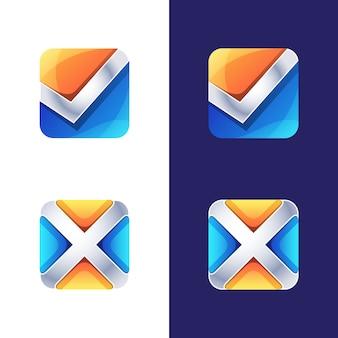 Símbolo colorido, ícone, logotipo certo e errado, modelo de logotipo inicial letra x e v