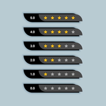 Símbolo criativo de classificação por estrelas para tema preto