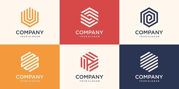 Símbolo criativo, design de logotipo hexágono com conceito de faixa, modelo de logotipo de negócios de empresa moderna