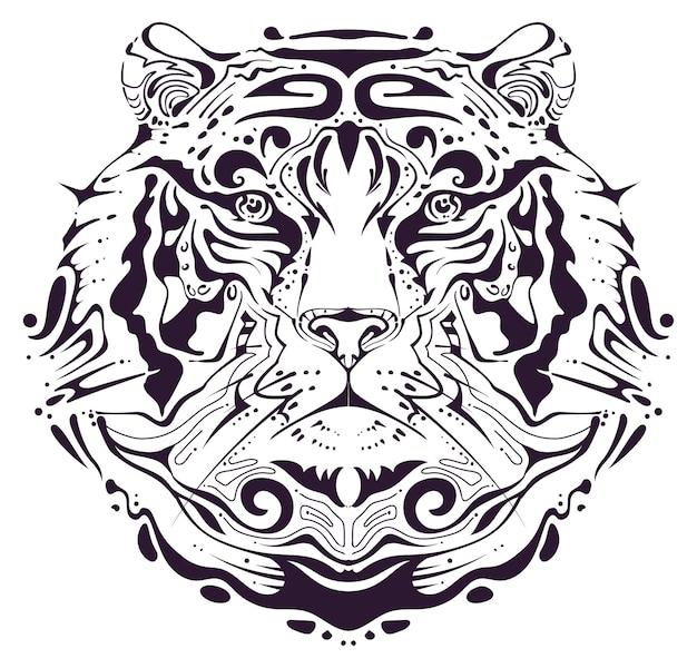 Símbolo da cabeça do tigre calendário chinês de 2022 anos padrão abstrato