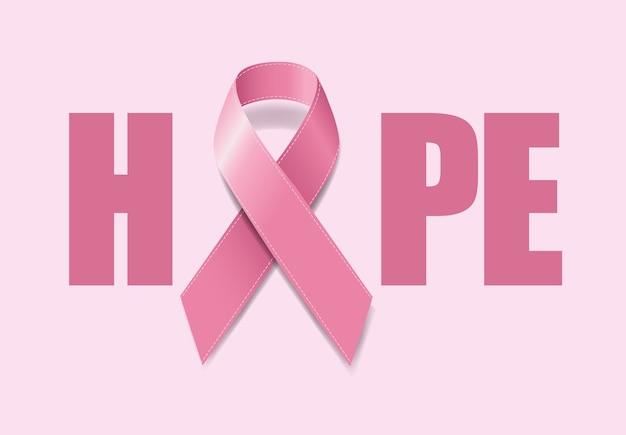 Símbolo da conscientização sobre o câncer de mama com fita rosa realista