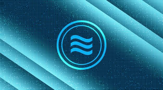 Símbolo da criptomoeda libra no fundo da tecnologia de rede