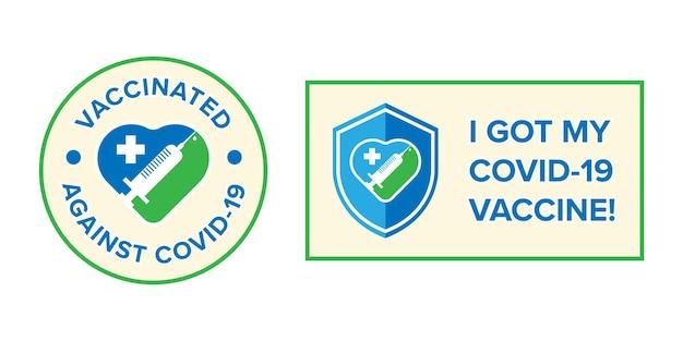 Símbolo da faixa com o texto recebi minha vacina covid-19 para pessoas vacinadas. adesivo da campanha de vacina contra o coronavírus. conceitos médicos e de saúde