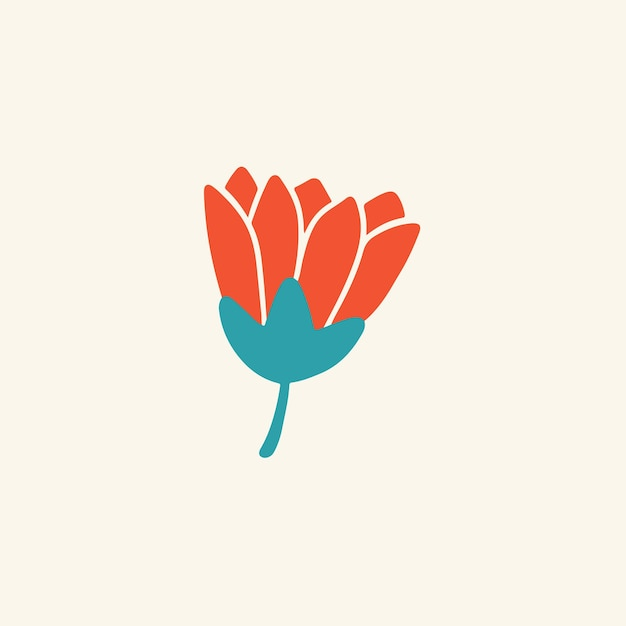 Símbolo da flor vermelha tropical nas mídias sociais postar ilustração vetorial floral