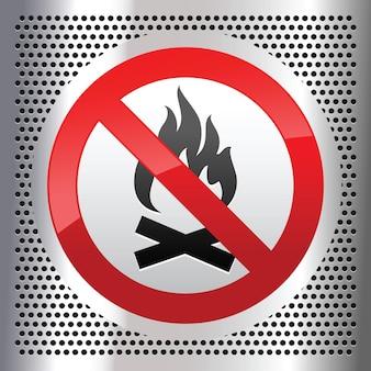 Símbolo da fogueira em chapa metálica perfurada de aço inoxidável