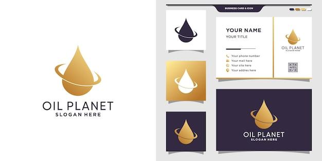 Símbolo da gota d'água, gota, logotipo do óleo com conceito criativo e cartão de visita