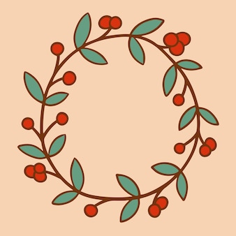 Símbolo da grinalda de natal mídia social pós ilustração vetorial de decoração de natal