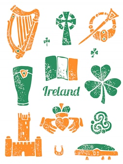 Símbolo da irlanda definido no estilo lino