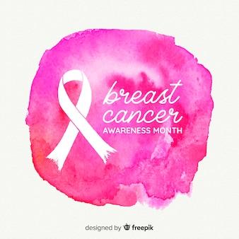 Símbolo da luta contra a aquarela de câncer de mama