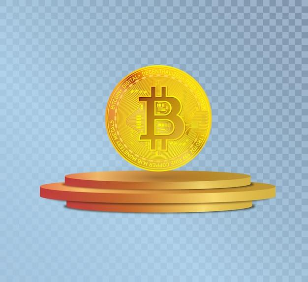 Símbolo da moeda de ouro bitcoin em criptomoeda no pódio