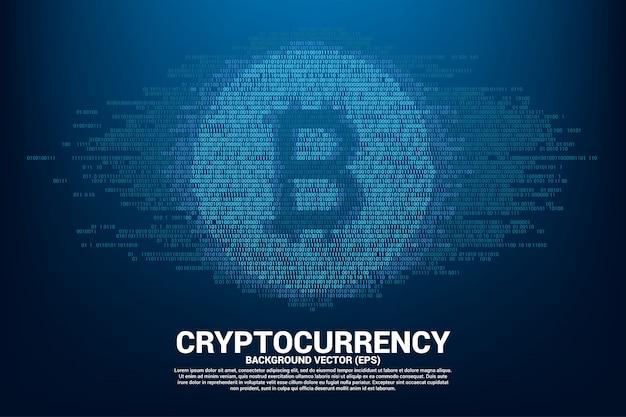 Símbolo da moeda do bocado do vetor com um e zero estilo da matriz do dígito do código binário.