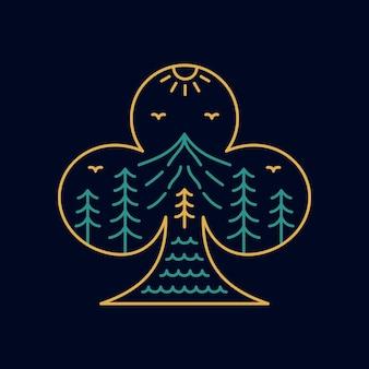 Símbolo da natureza do clube de cartas de jogar