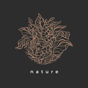 Símbolo da natureza em círculo ramo de café com grão de feijão de flor de folha realista