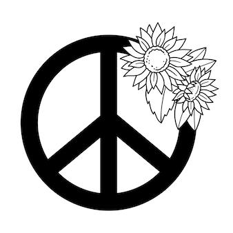 Símbolo da paz com girassóis símbolo da paz com flores ilustração vetorial