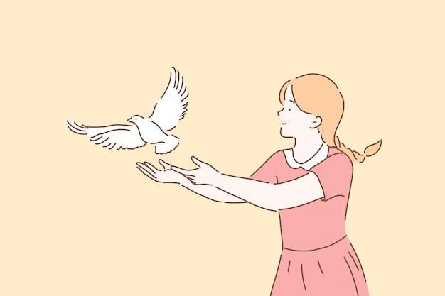 Símbolo da paz, conceito de metáfora da liberdade