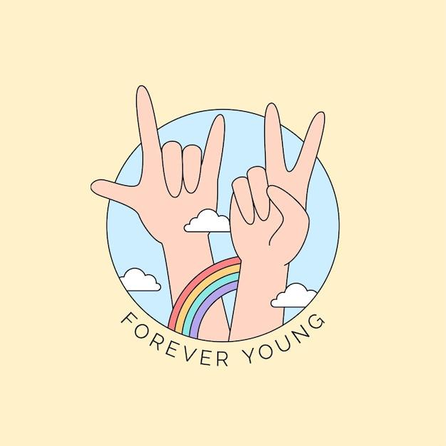 Símbolo da paz e mão de metal com arco-íris colorido e ilustração da nuvem para feliz campanha do dia da juventude