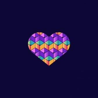 Símbolo de amor colorido com estilo 3d
