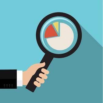 Símbolo de análise de negócios com lupa