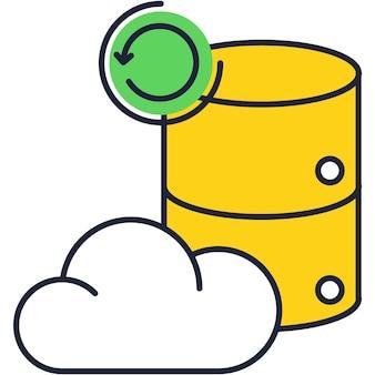 Símbolo de atualização de vetor de ícone de linha de nuvem de dados