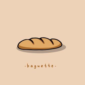 Símbolo de baguete ilustração vetorial de comida deliciosa