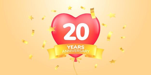 Símbolo de banner de modelo de aniversário de 20 anos com balão de ar quente em forma de coração para o 20º aniversário