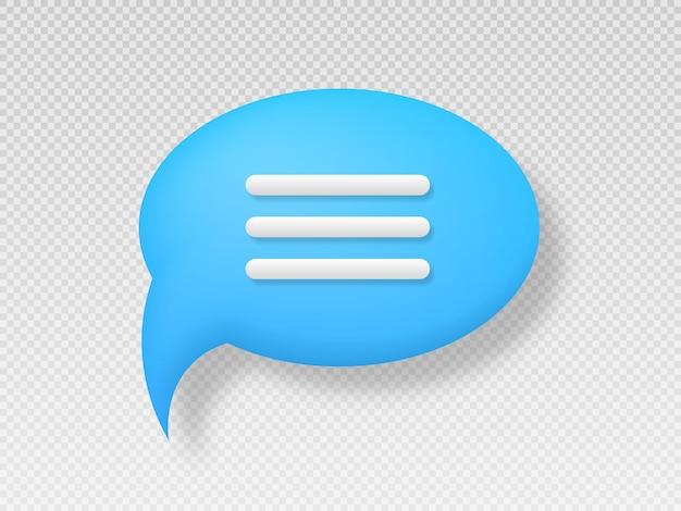 Símbolo de bate-papo pictograma de estilo 3d para web design ui mobile app