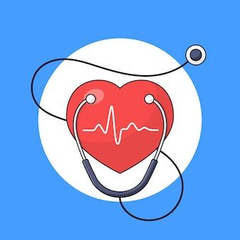 Símbolo de batimento cardíaco com ilustração de contorno de estetoscópio para celebração do dia mundial do coração