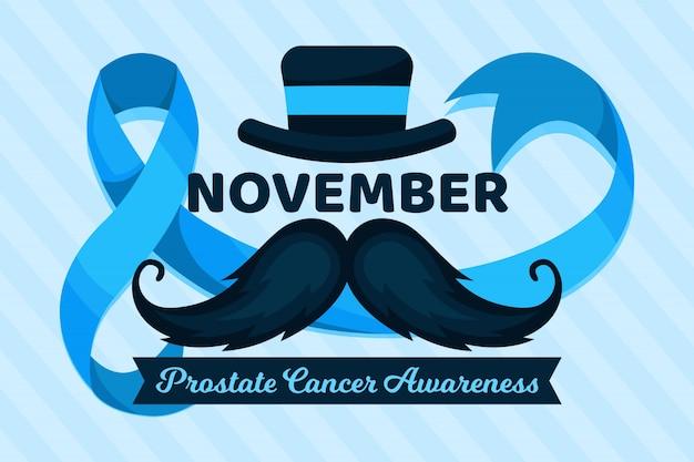 Símbolo de bigode conscientização do câncer de próstata em design plano