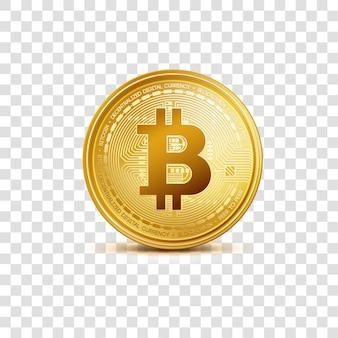 Símbolo de bitcoin de moeda dourada de criptografia isolado em fundo transparente