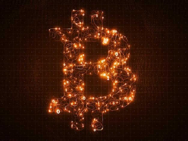 Símbolo de bitcoin dourado de vetor construído com números binários fluidos