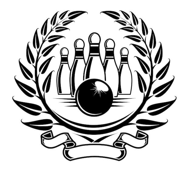 Símbolo de boliche na coroa de louros em estilo retro