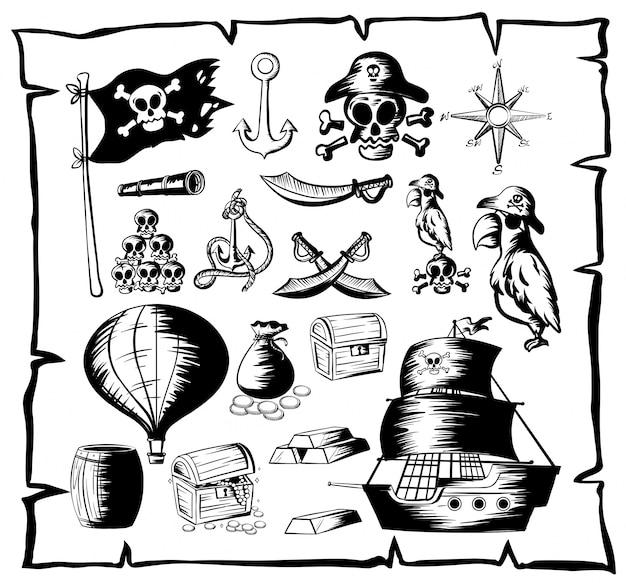Símbolo de caça de treceira em papel antigo