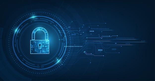 Símbolo de cadeado com fechadura. segurança de dados pessoais ilustra a idéia de privacidade de dados cibernéticos ou informações.